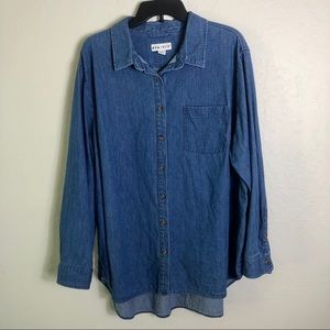 Ava & Viv Denim Hi-Low Button Down Shirt 3X